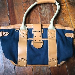 NWOT J.CREW Navy Cotton & Leather Tote Bag